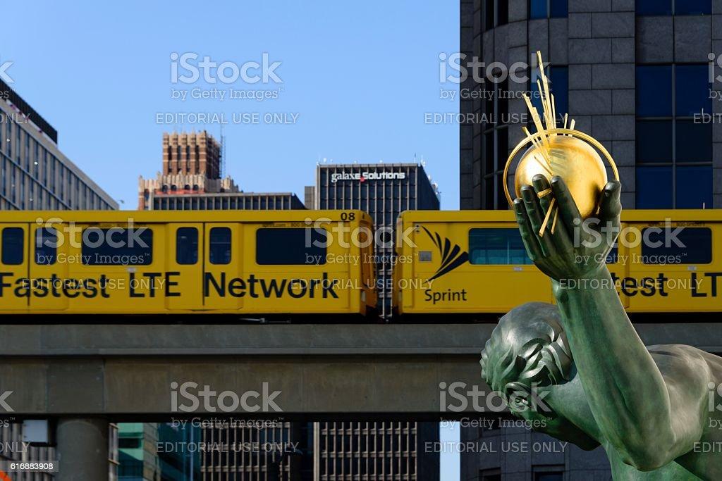 Downtown Detroit Michigan Street Scene stock photo
