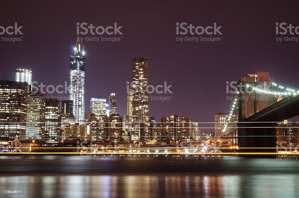 Downtown district by night, Manhattan royalty-free stock photo