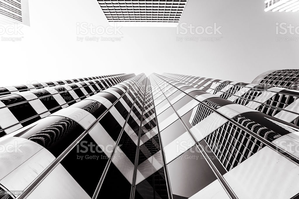 Downtown District Skyscrapers in San Francisco Unique Angle stock photo