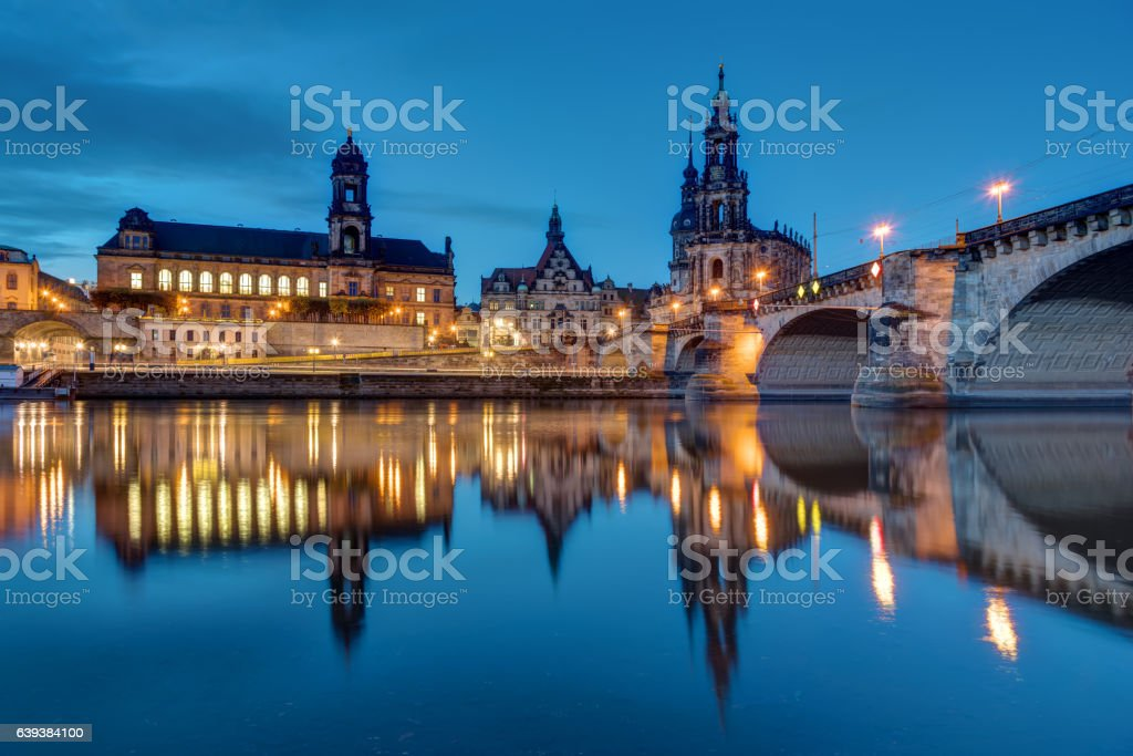 Downtown Dresden and the river Elbe stock photo