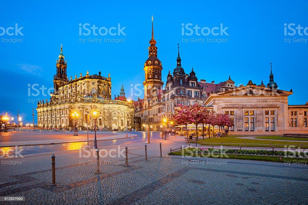 Downtown Dresden Germany Theaterplatz stock photo