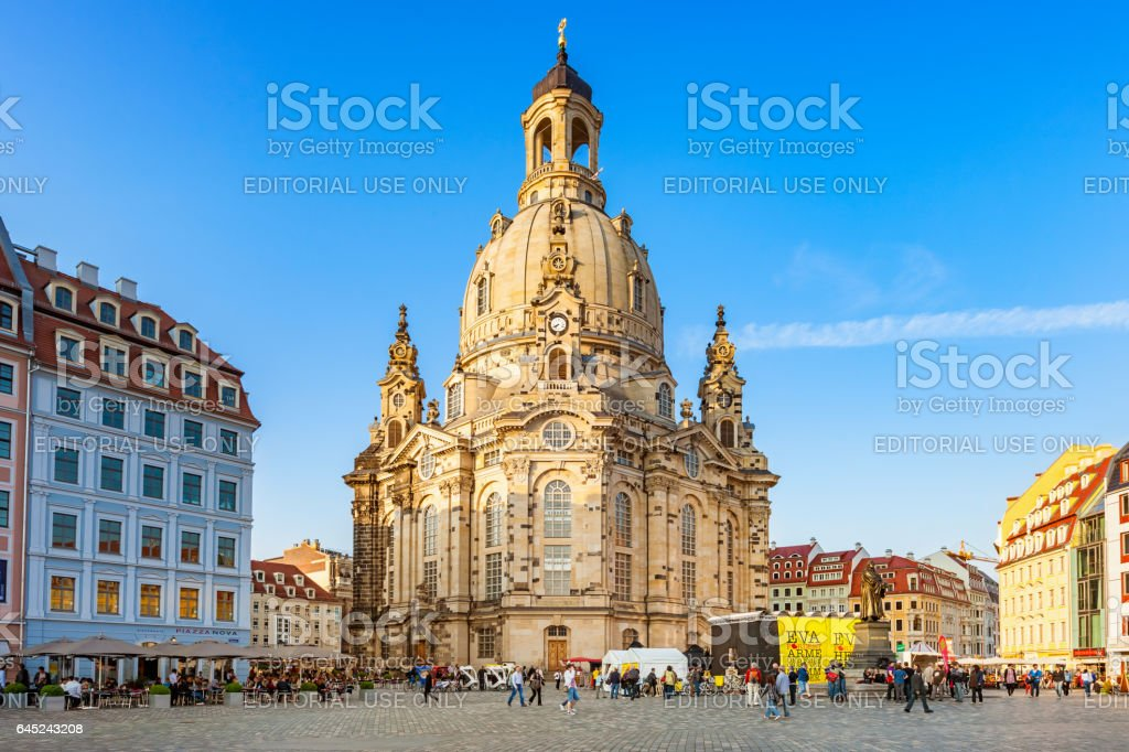 Downtown Dresden Germany with Frauenkirche and Neumarkt Square stock photo