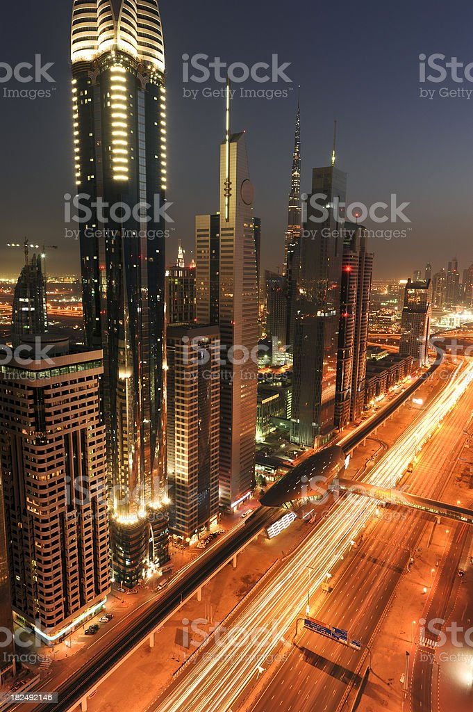 Downtown Dubai and Burj Khalifa royalty-free stock photo