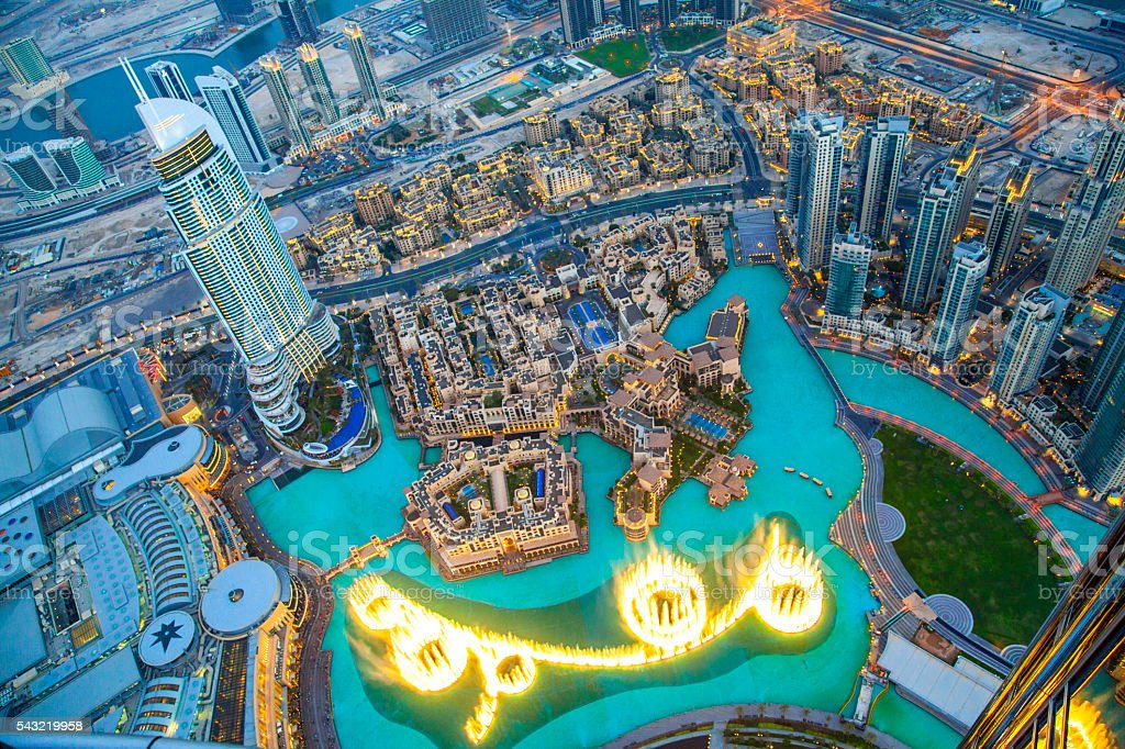 Downtown Dubai at night. stock photo
