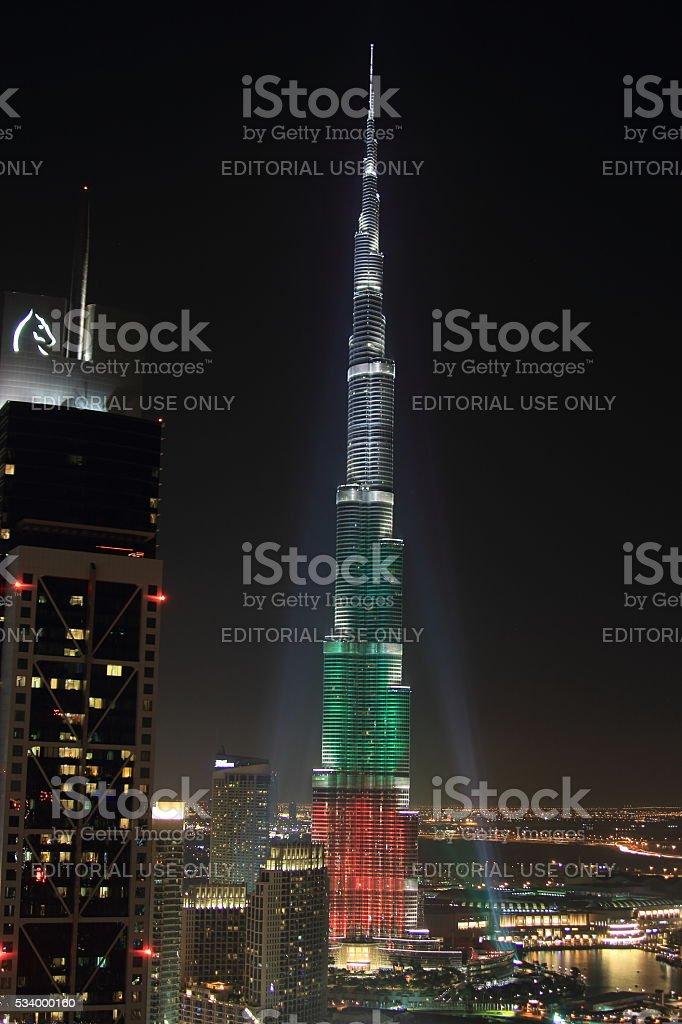 Downtown Dubai National day 2013 stock photo