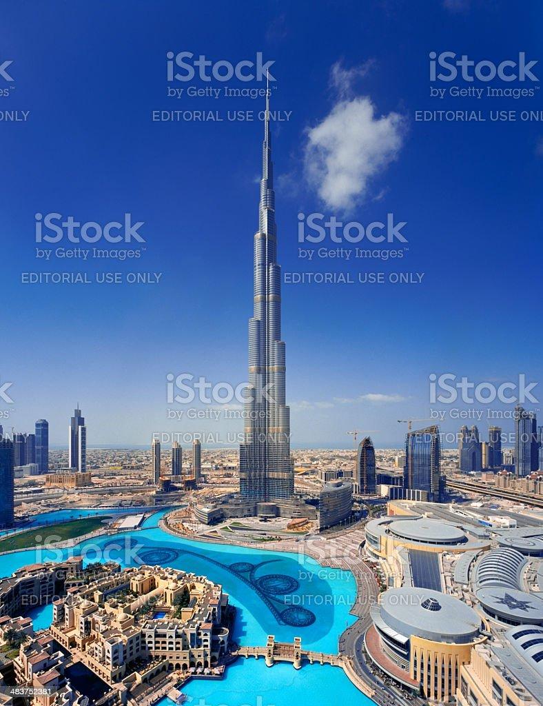 Downtown Dubai showing the Burj Khalifa and Fountain royalty-free stock photo