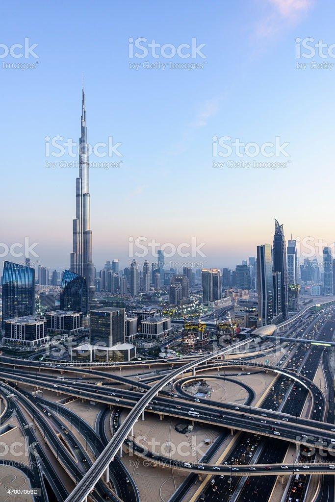 Downtown Dubai with Burj Khalifa and Sheikh Zayed Road stock photo