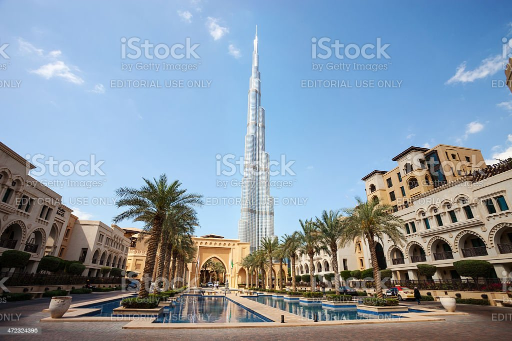Downtown Dubai with Burj Khalifa in the background stock photo