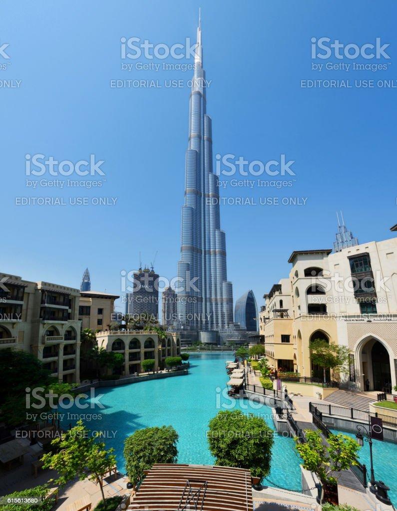 Downtown Dubai with the Burj Khalifa stock photo