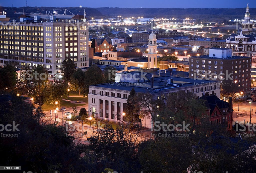 Downtown Dubuque at Night stock photo
