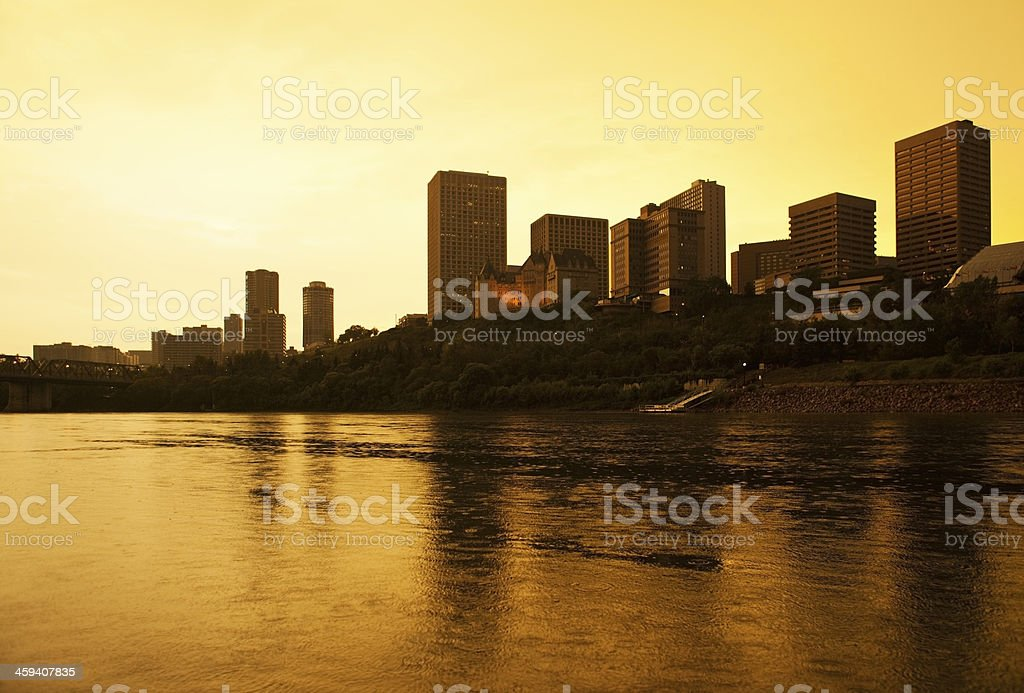 Downtown Edmonton, Canada at Sunset stock photo