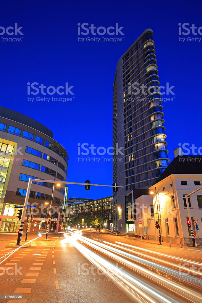 Downtown Eindhoven at night stock photo