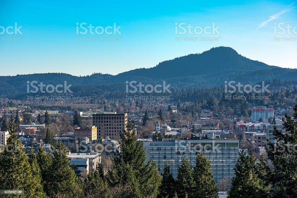 Downtown Eugene Oregon from Skinner Butte stock photo