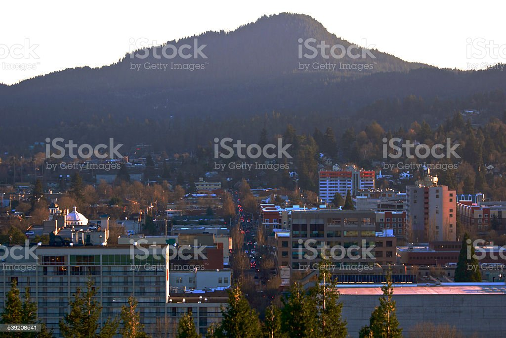 Downtown Eugene Oregon Willamette Street from Skinner Butte Evening stock photo
