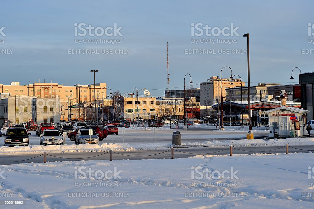 Downtown Fairbanks in Winter stock photo