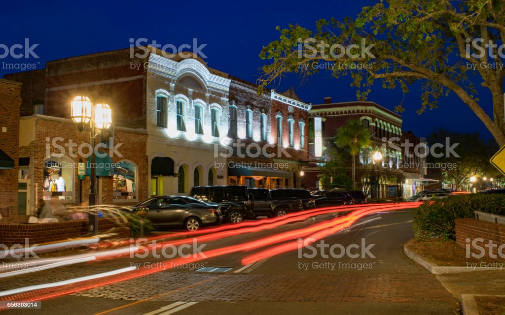 Downtown Fernandina Beach, FL at Night stock photo