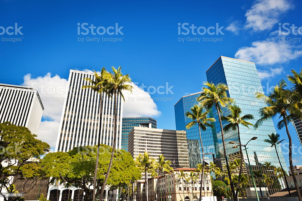 Downtown Financial and Business District of Honolulu Oahu, Hawaii, USA stock photo