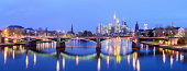 Downtown Frankfurt City Skyline at Night in Germany