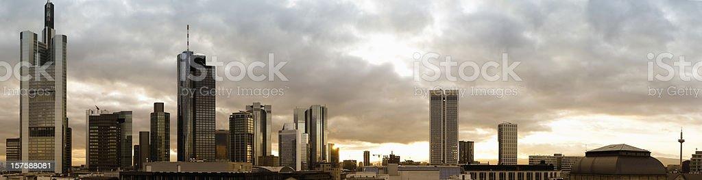 Downtown Frankfurt, Germany, city panorama at sunset stock photo
