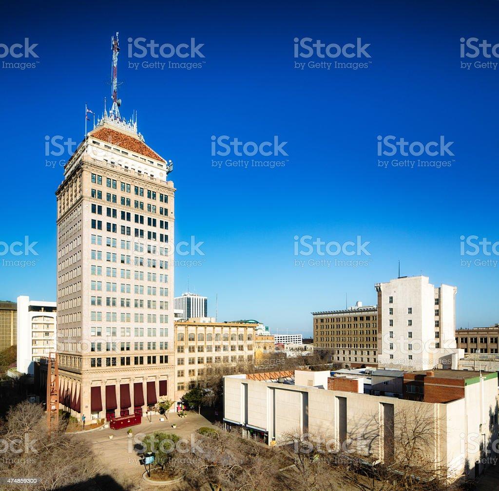 Downtown Fresno California skyline at sunset stock photo