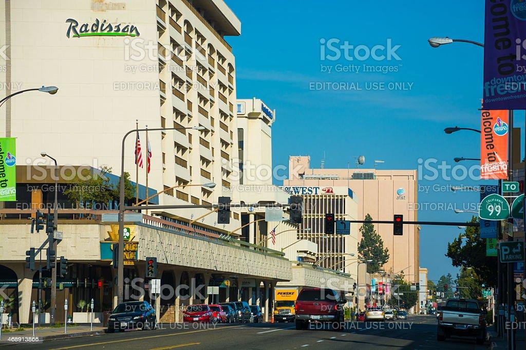 Downtown Fresno street scene stock photo