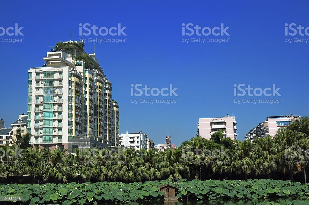 Downtown Fuzhou -- from a park royalty-free stock photo
