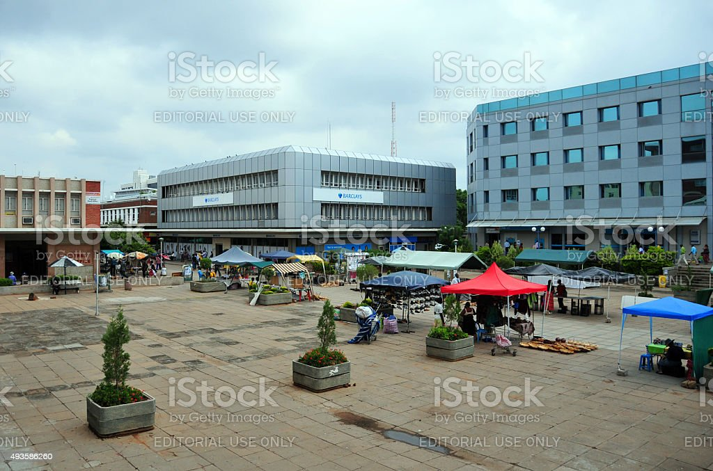 Downtown Gaborone,  Botswana stock photo