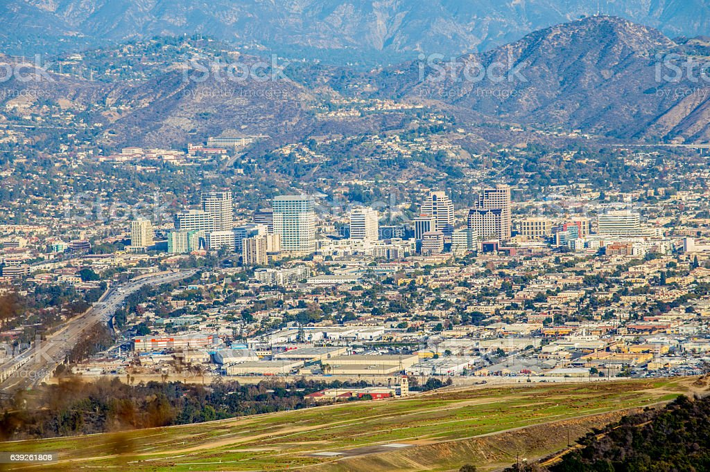 Downtown Glendale California from far away stock photo