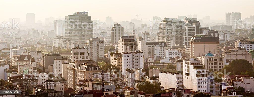 Downtown Hanoi Vietnam panorama late afternoon stock photo