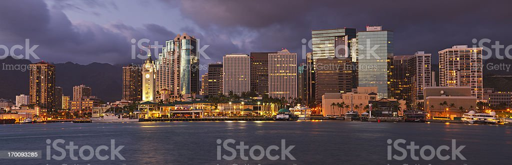 Downtown Honolulu, Hawaii dusk skyline stock photo