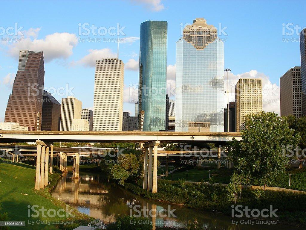 Downtown Houston and Bayou royalty-free stock photo