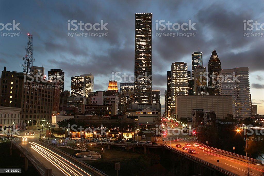 Downtown Houston main street royalty-free stock photo