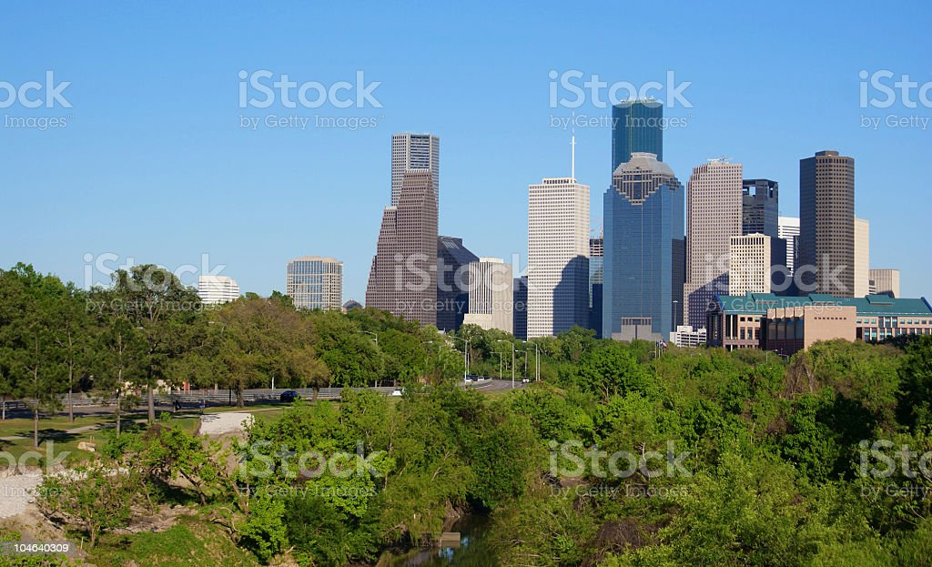 Downtown Houston over the Bayou stock photo