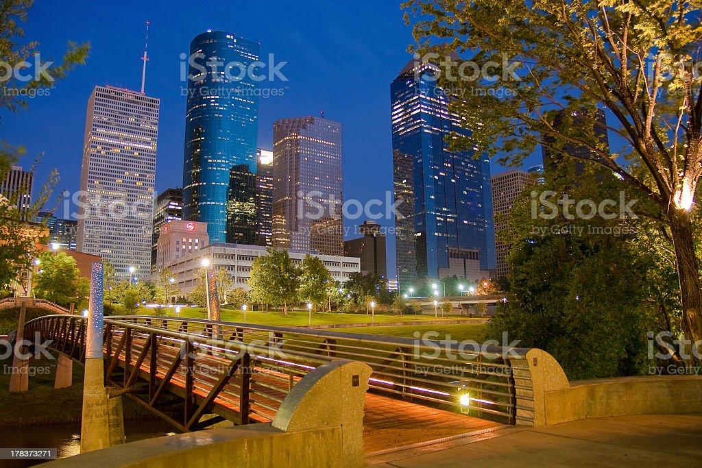 Downtown Houston, Texas as night stock photo