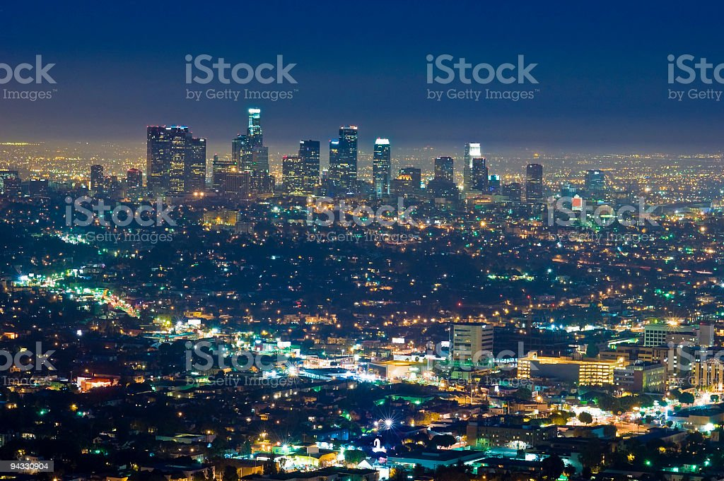 Downtown illuminated royalty-free stock photo