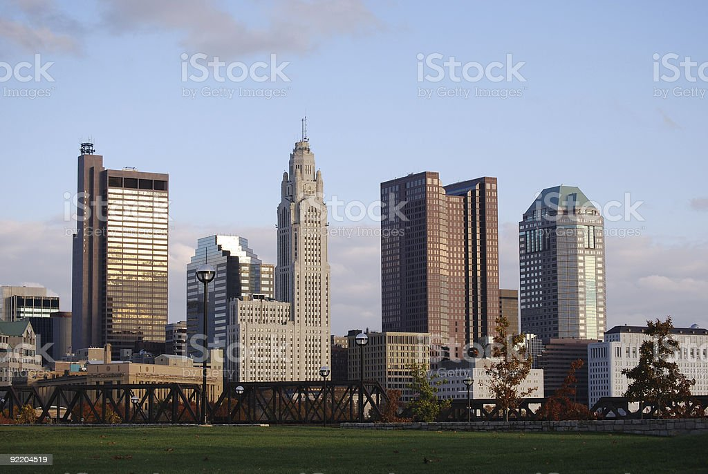 Downtown in the evening. stock photo