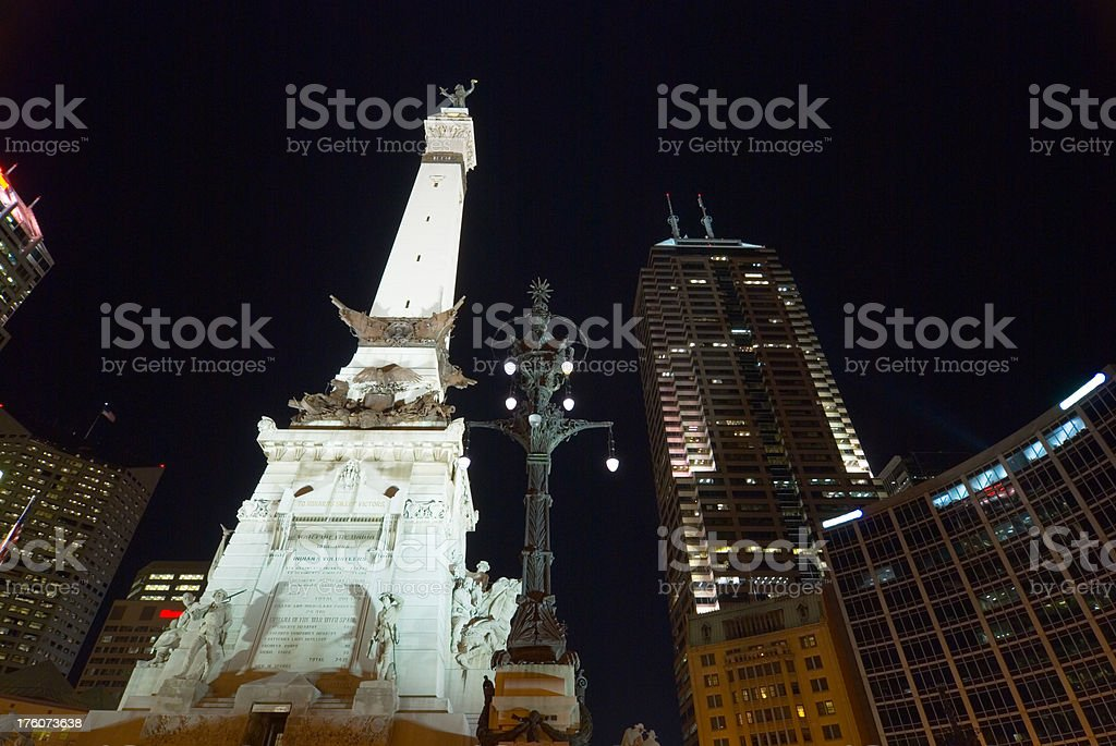 Downtown Indianapolis landmarks at night stock photo