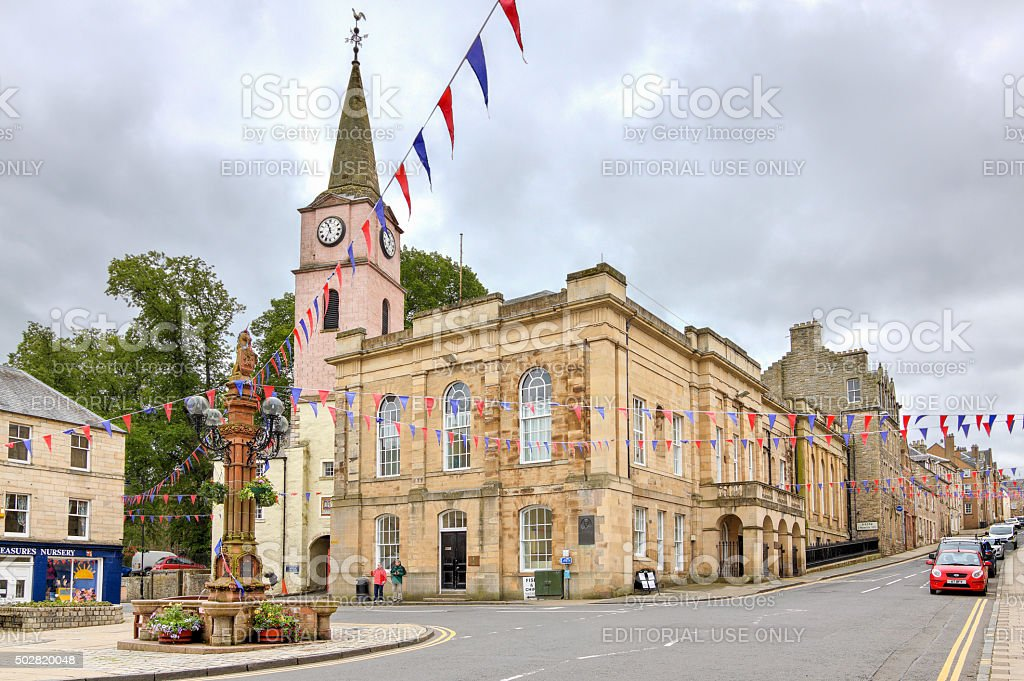 Downtown Jedburgh, Scotland, United Kingdom. stock photo