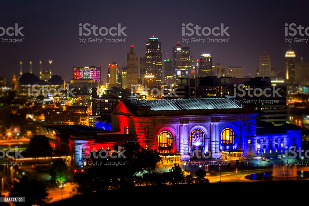 Downtown Kansas City, Missouri at night stock photo