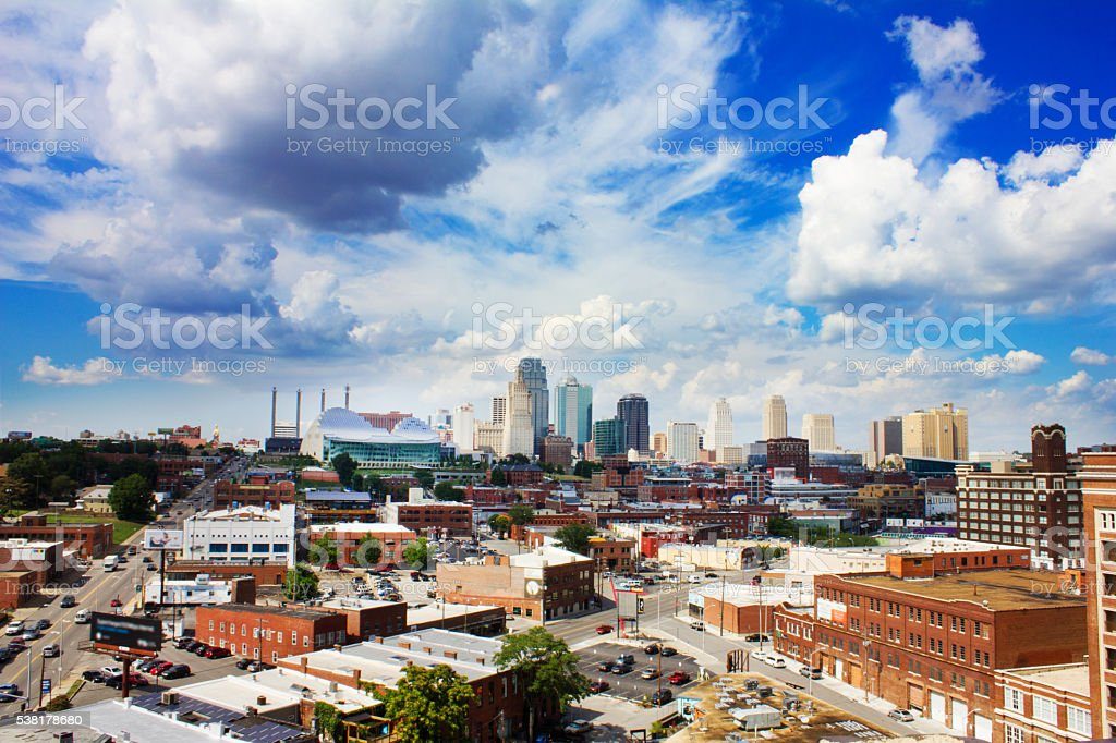 Downtown Kansas City, Missouri under blue sky and clouds stock photo