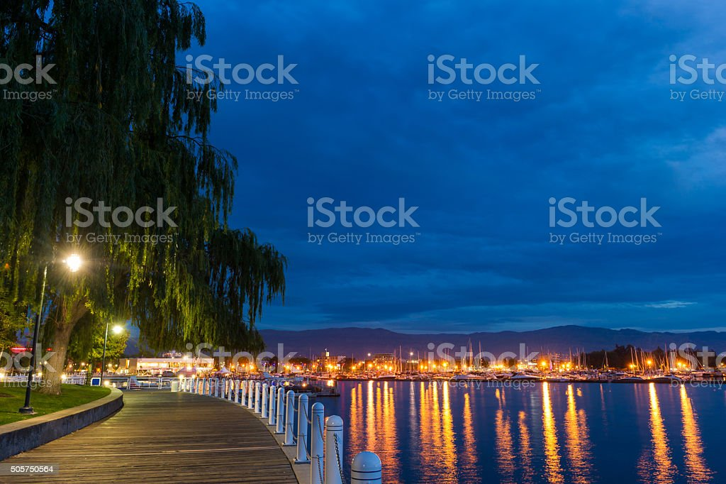 Downtown Kelowna Harbour at dusk stock photo