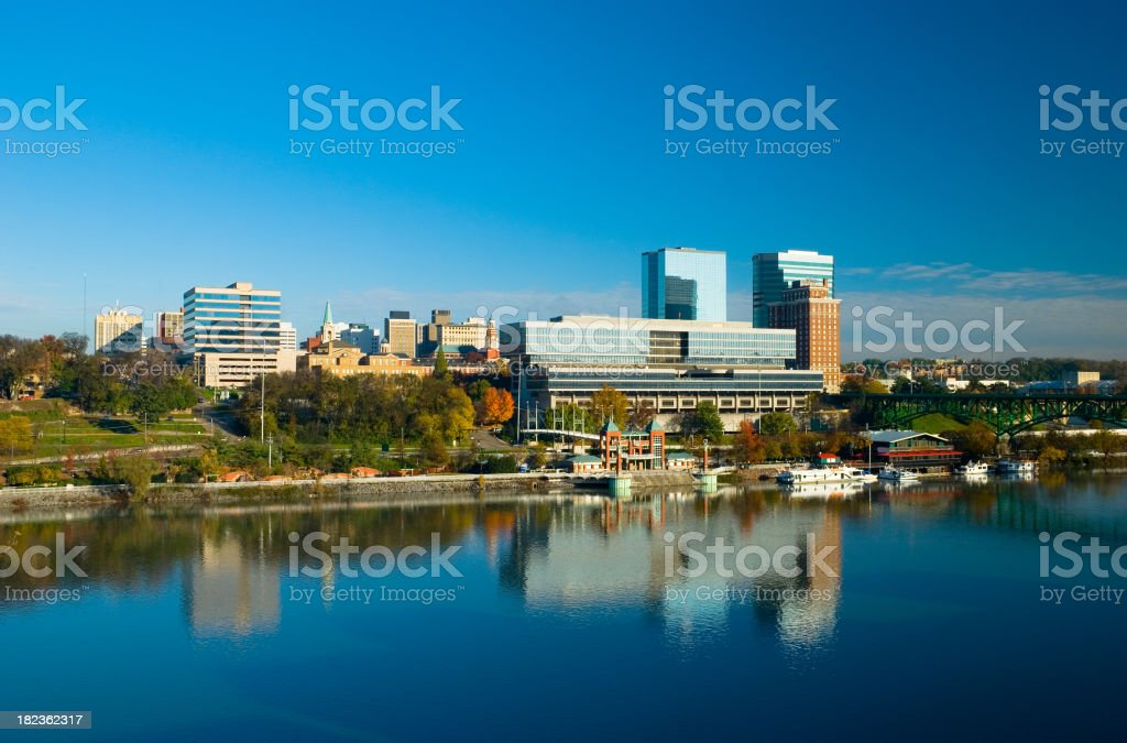 Downtown Knoxville and the Tennessee River stock photo