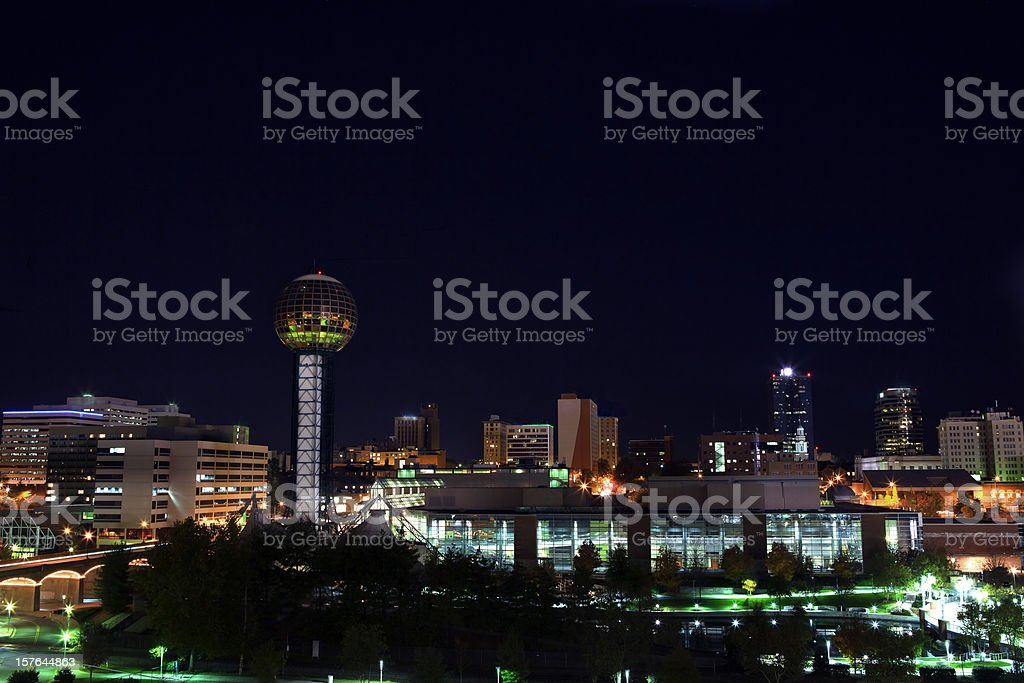 Downtown Knoxville TN skyline night royalty-free stock photo