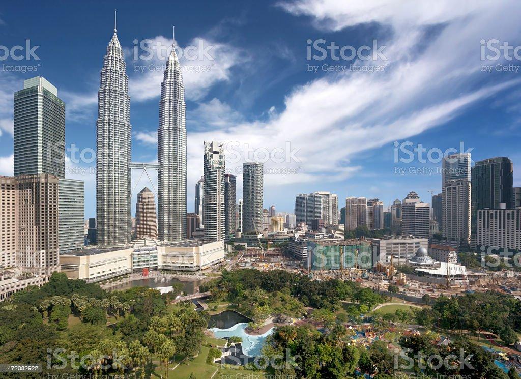 Downtown Kuala Lumpur skyline on a sunny day  stock photo