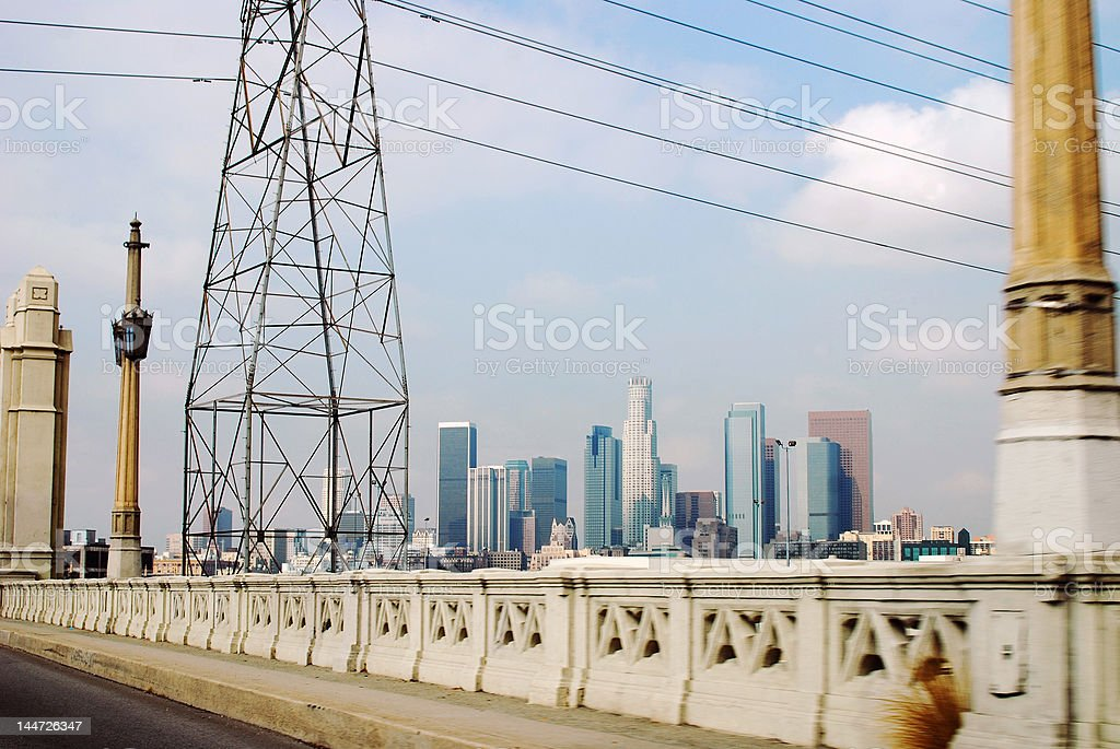 Downtown L.A. from Bridge stock photo