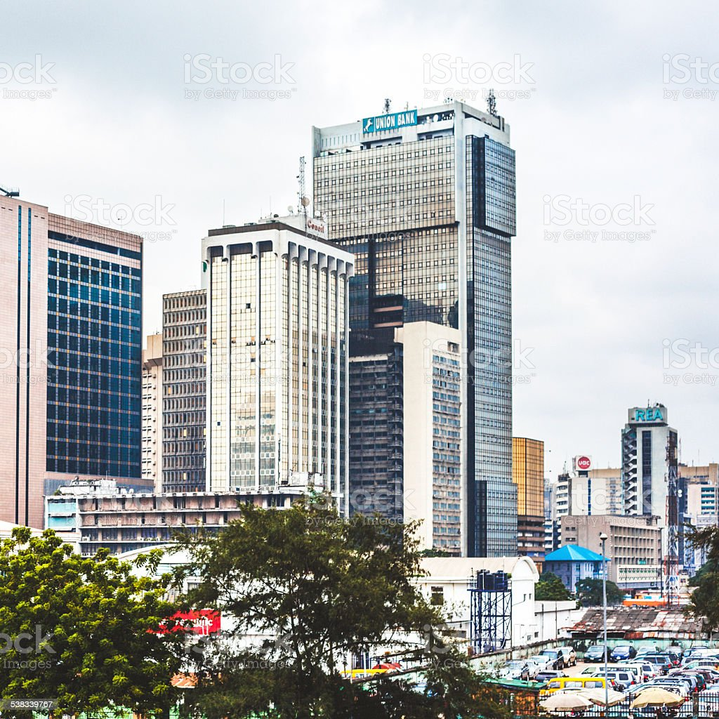 Downtown Lagos, Nigeria. stock photo
