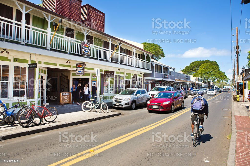 Downtown Lahaina, Popular Toruist Beach town in Maui Hawaii stock photo