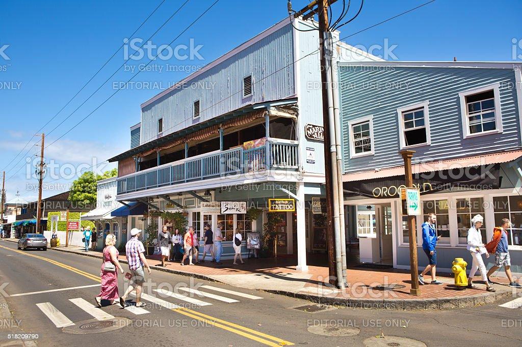 Downtown Lahaina, Popular Toruist Beach town in Maui Hawaii stock photo