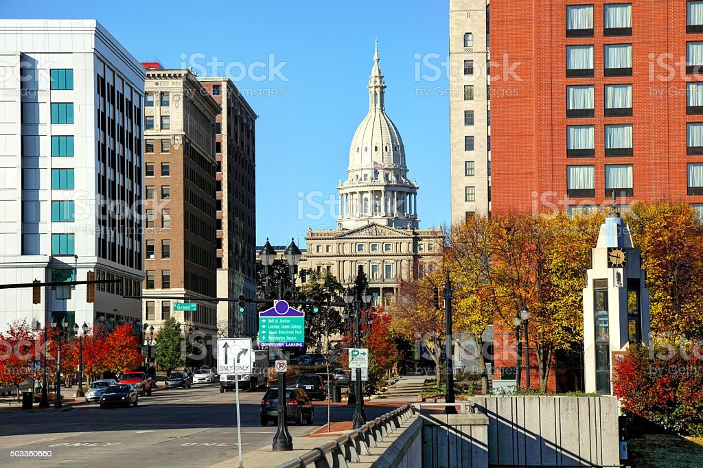 Downtown Lansing and the Michigan State Capitol stock photo