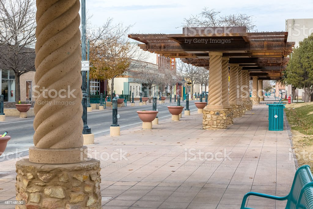 Downtown Las Cruces, New Mexico - Canopies, Flower Pots, Benches stock photo